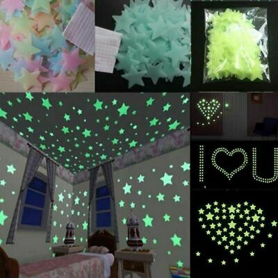 100x Glow In The Dark Removable Star Wall Stickers Living Room Bedroom Luminous