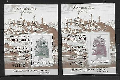 Hungary -  2001 St Stephen - Pannonhalma - SS's - PERF & IMPERF - MNH