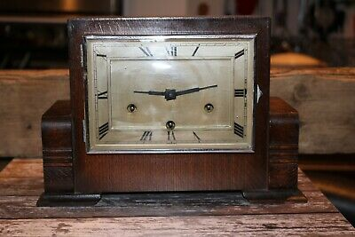 antique vintage art deco nouv mantel clock haller square Westminster chime 1930s