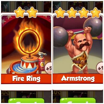 Coin Master Cards Fire Ring & Armstrong Combo Pack. *Fast Delivery*