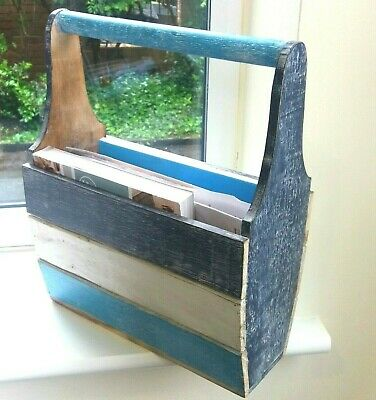 Bright blue & white wooden carry style magazine rack