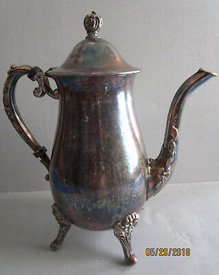 Vintage Sheridan SIlverplate Coffee Pot Footed Silver plate on cooper