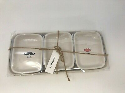 RAE DUNN Magnolia 2017 His Hers Ours 4 Pc Bowl and Tray Set IVORY New in Pkg
