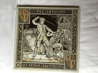 Victorian Minton Waverley series large Moyr Smith tile - The Antiquary