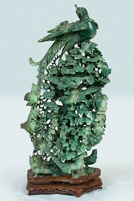 "22"" Vintage Natural Spinach & Moss Green Nephrite Jade TREE OF LIFE Statue"