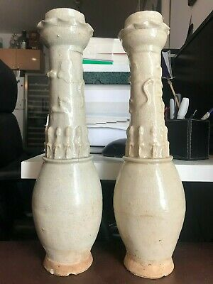 Matching Pair Antique Chinese Song Dynasty Ceramic Glaze Funerary Urns Vases