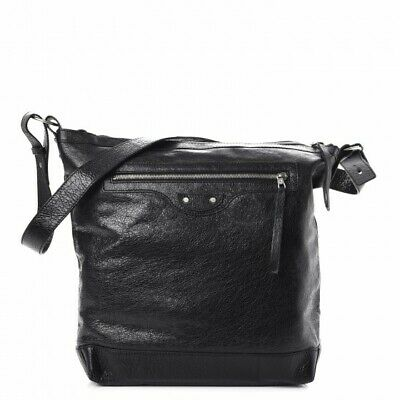 c03753cc26 BALENCIAGA Day Messenger Black Leather Silver Stud Pockets Zipper Large  Tote Bag