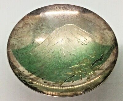 """Pure Silver bowl Vintage Japan Mountain Cherry Blossom marked  4"""" W x 1.5"""" H"""