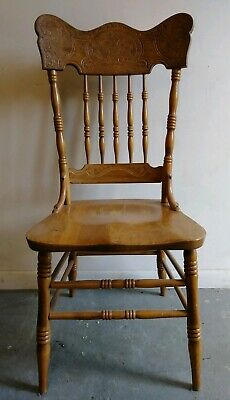 Antique Wood Dining Chairs - Set of 5