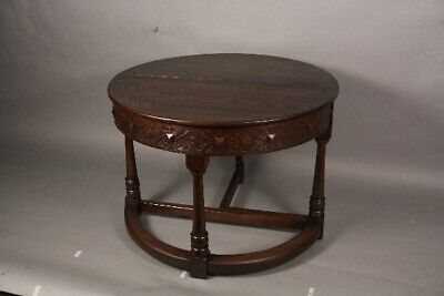 1920's Antique Spanish Revival Tudor Round Side Table With Folding Panel (11924)