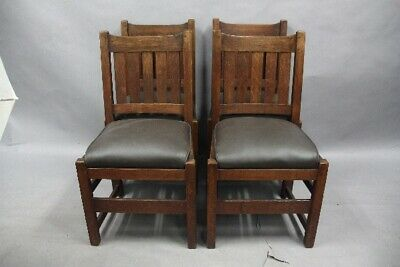 Set Of 4 Antique Signed L&JG Stickley Arts And Crafts Mission Chairs (11899)