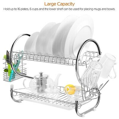 Large Capacity 2 Tier Dish Drainer Drying Rack Kitchen Storage Stainless Steel