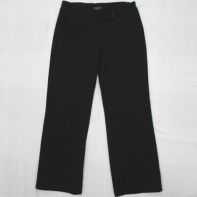 Eileen Fisher Black Ponte Knit Stretch Straight Leg Pants Size Small S Pockets