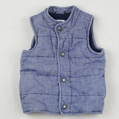 Old Navy 2T Puff Vest Toddler Boy Girl Blue Chambray Denim Snap Front Soft Baby