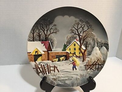 Vintage S R New York Western Germany Decorative Winter Farm Wall Plate 3811