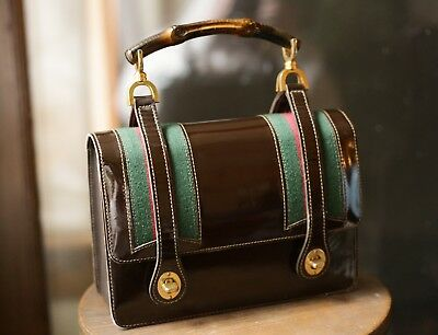 ed4f0cb1046 Vintage Gucci Bamboo Top Handle Lunch Box Bag Rare Green Red Brown Museum  Piece