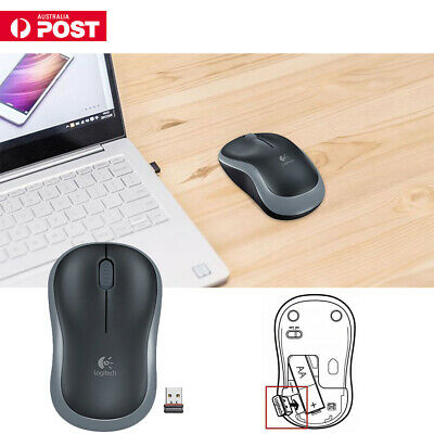 Logitech NEW M185 Grey Wireless Optical Mouse Compact for PC Laptop MAC Linux AU