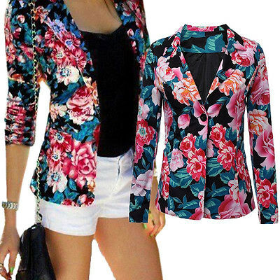 Womens Floral Blazer Suit Casual Cropped Jacket Coat Long Sleeve Slim Fit Tops
