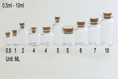20/50/100 Pcs Small Glass Bottles With Corks Clear Vials Transparent 0.5ml-10ml