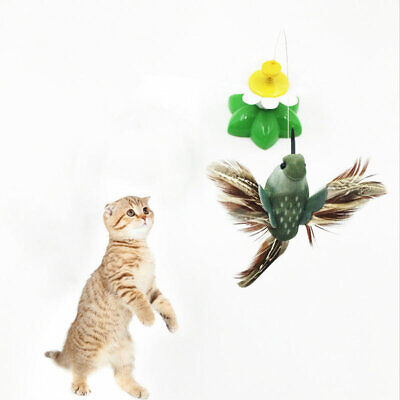 Funny Electric Rotating Butterfly Bird Rod Wire Pet Cat Kitten Teaser Play Toys