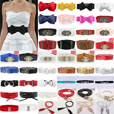 Womens Leather Wide / Thin Dress Belt Elastic Stretch Buckle Waist Band Belts AU