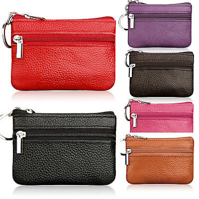 Womens Mens Leather Small Mini Key Ring Wallet ID Card Clutch Change Coin Purse