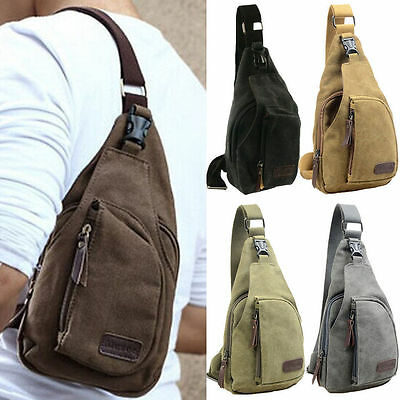 Mens Canvas Cross Body Shoulder Bags Military Travel Sling Backpack Chest Bag AU