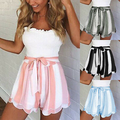 Womens Striped Summer High Waist Floral Casual Beach Hot Pants Paperbag Shorts 8