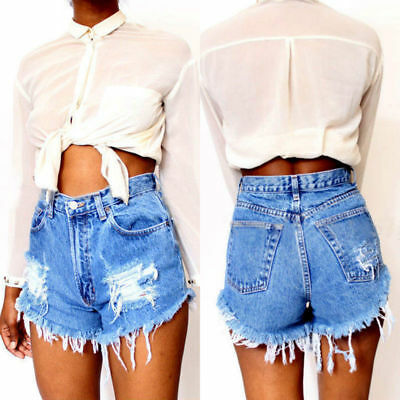 Womens Ripped Distressed High Waisted Denim Shorts Jeans Hot Pants Trousers Blue