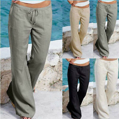 Womens Ladies Cotton Linen Wide Leg Pants Leisure Chino Loose Yoga Trousers 6-16