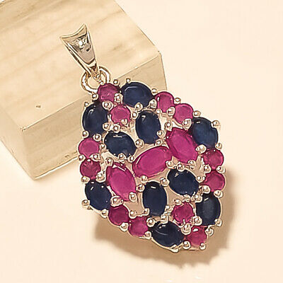 Natural Red Ruby Sapphire Pendant 925 Sterling Silver Statement Fine Jewelry New