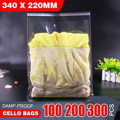 100x A4 Cello Bag  Cellophane Clear Resealable Plastic Self Seal Adhesive