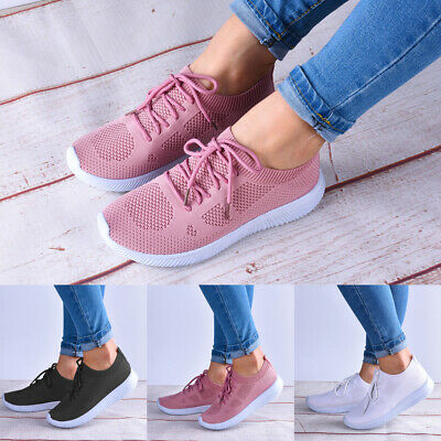 Women Ladies Flat Sneakers Trainers Jogger Sport Mesh Lace Up Shoes Size 3-7