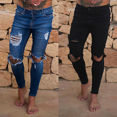 Fashion Mens Skinny Jeans Trousers Ripped Stretchy Denim Biker Distressed Pants