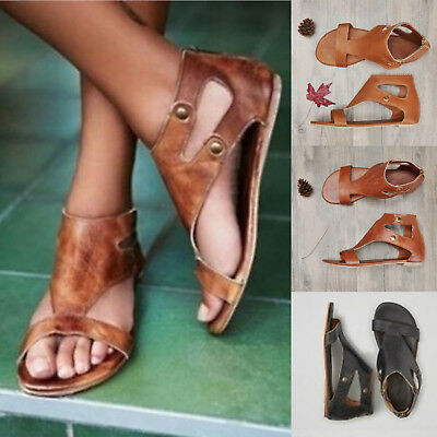 Womens Gladiator Summer Casual Sandals Flat Heel Roma Style Beach Gothic Shoes