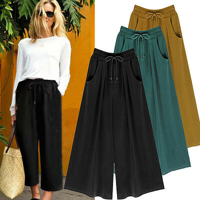 Women Loose High Waist Wide Leg Pants Culottes Palazzo Solid Trousers Plus Size