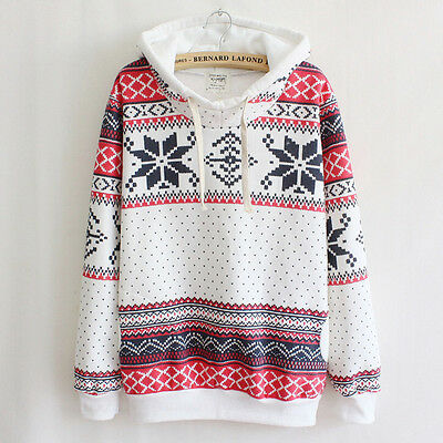 Women Hoodies Sweater Christmas XMAS Snowflake Sweatshirt Winter Pullover Jumper