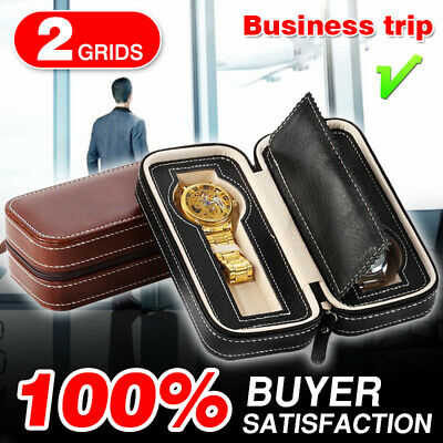 2 Grids Travel Watch Box PU Leather Storage Zipper Wristwatch Case Organizer