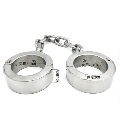 super heavy 4cm high Ankle cuffs stainless steel chain iron metal bondage