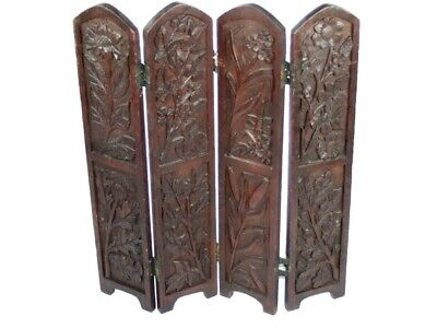 Antique Carved  Pine Wood 4 Panel Screen [5256]
