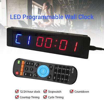 Programmable LED Timer Stopwatch Training Clock w/ Remote For Fitness Gym Yoga