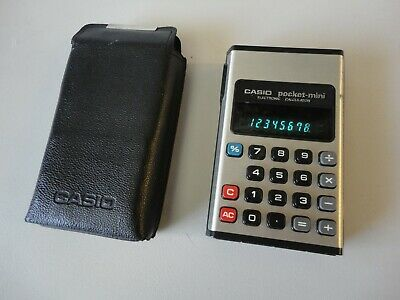 CASIO POCKET-MINI P-801C 8 digits CALCULATOR ~ VINTAGE ~ 1975-1976 With pouch