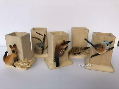 Australiana Pencil Pots Decorative Hand Crafted Bristlebrush Birds & Animals