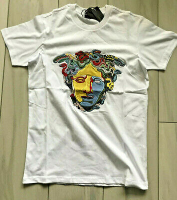 d9da54186 Brand New T-Shirt Versace White Embrodied Medusa Colorful Italy Men's Cotton