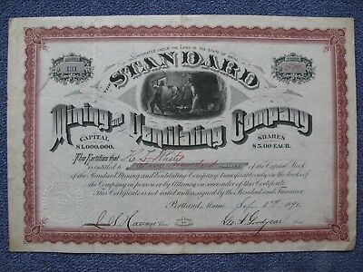 1890 Standard Mining and Ventilating Company Portland Maine Stock Certificate US