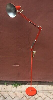 Large Vintage Retro 1960s Danish Design Floor Standing Angle Poise Lamp - Red -