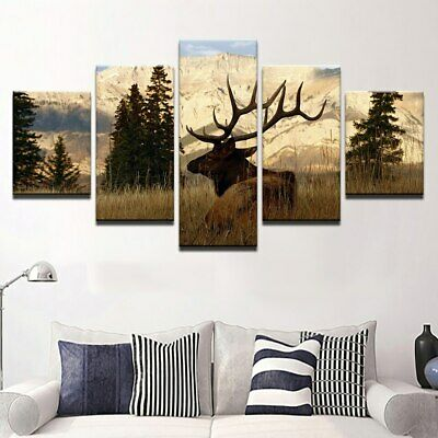 5 Pieces Mountain Bull Elk Deer Posters Canvas HD Prints Wall Art Home Decor