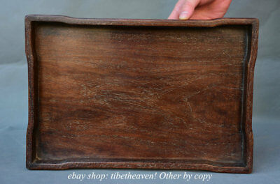"13.6"" Old Chinese Huanghuali Wood Dynasty Palace Stripe Plate Tray Pallet"