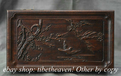 "10.4"" Old Chinese Huanghuali Wood Dynasty Palace Peach Blossom Bird Jewelry Box"