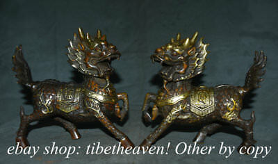 "8.4"" Old Chinese Bronze Feng Shui Kylin Qilin Dragon Beast Lucky Sculpture Pair"